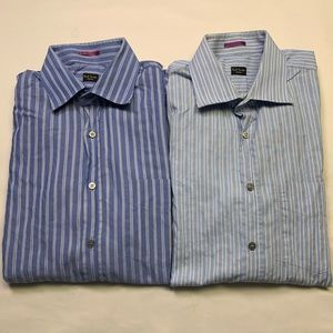 2 Paul smith French Cuff Dress Shirts In Stripe